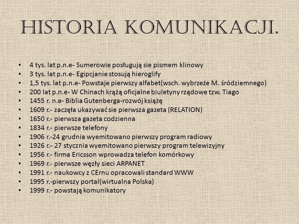 Historia komunikacji. 4 tys. lat p.n.e- Sumerowie posługują sie pismem klinowy. 3 tys. lat p.n.e- Egipcjanie stosują hieroglify.