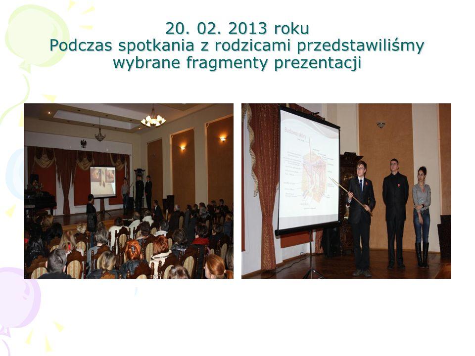 20. 02. 2013 roku Podczas spotkania z rodzicami przedstawiliśmy wybrane fragmenty prezentacji