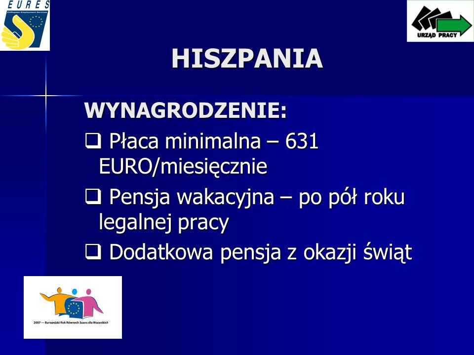 HISZPANIA WYNAGRODZENIE: Płaca minimalna – 631 EURO/miesięcznie