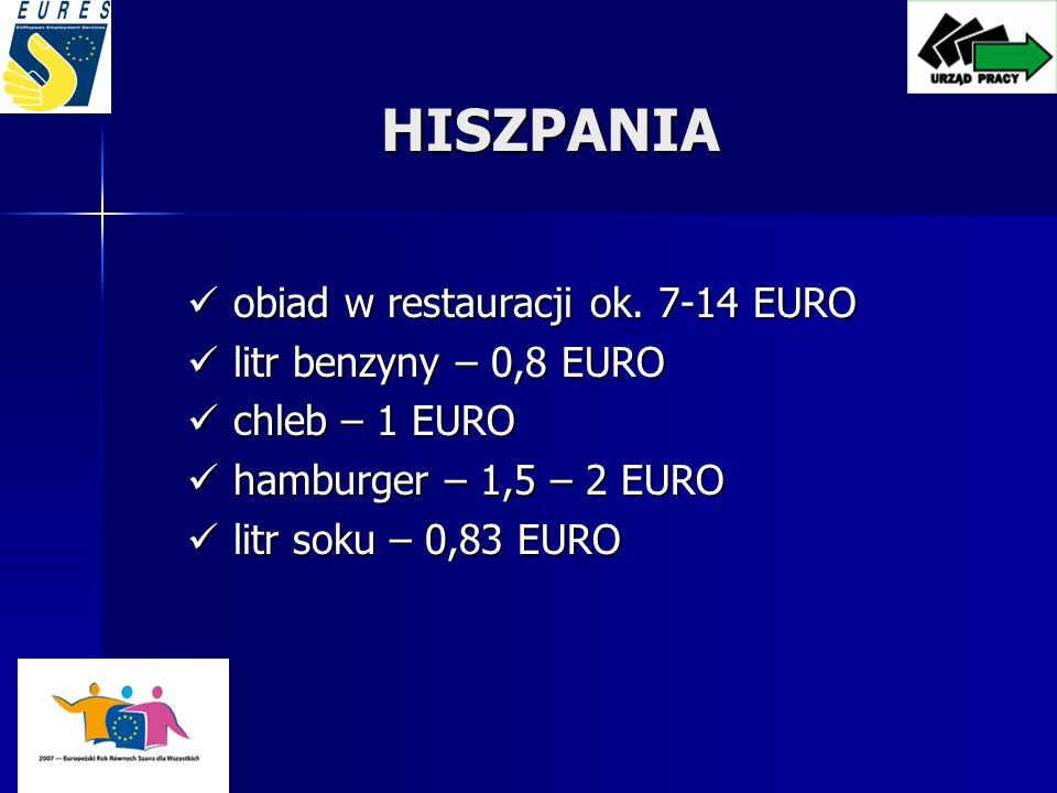 HISZPANIA obiad w restauracji ok. 7-14 EURO litr benzyny – 0,8 EURO