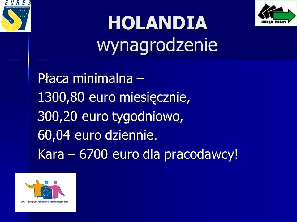 HOLANDIA wynagrodzenie