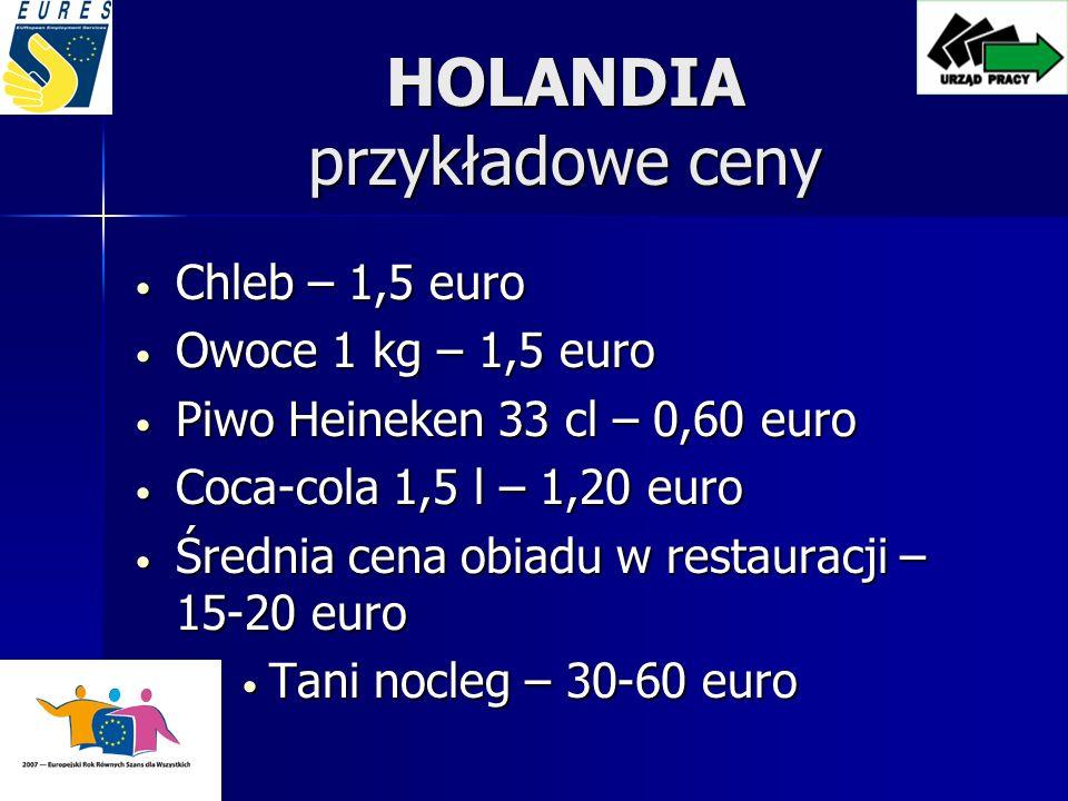 HOLANDIA przykładowe ceny