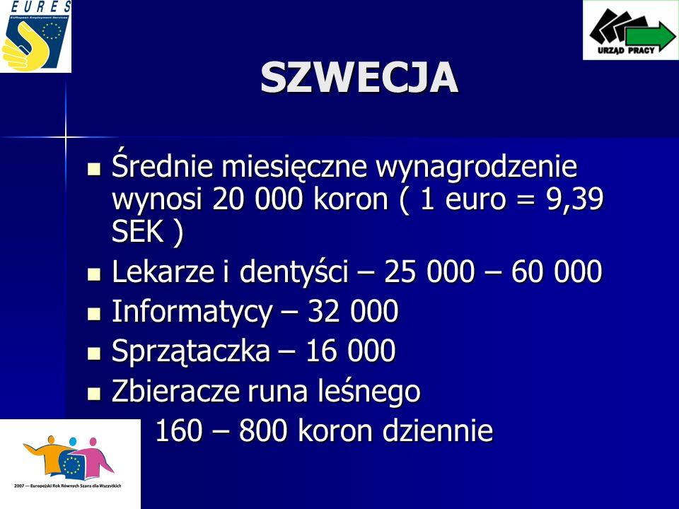 SZWECJA Średnie miesięczne wynagrodzenie wynosi 20 000 koron ( 1 euro = 9,39 SEK ) Lekarze i dentyści – 25 000 – 60 000.