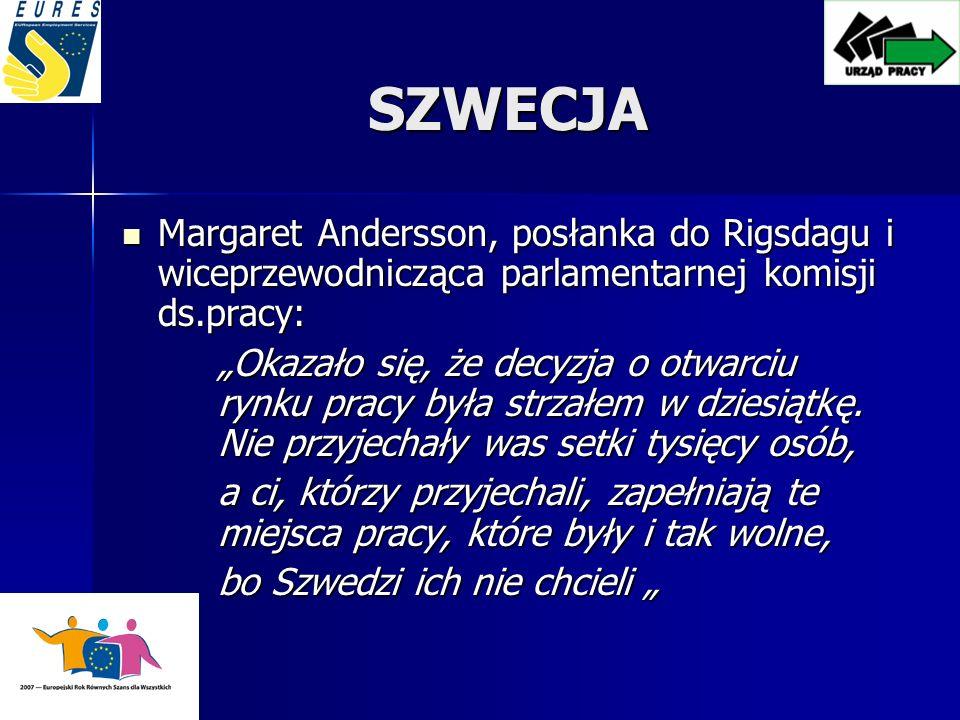 SZWECJA Margaret Andersson, posłanka do Rigsdagu i wiceprzewodnicząca parlamentarnej komisji ds.pracy: