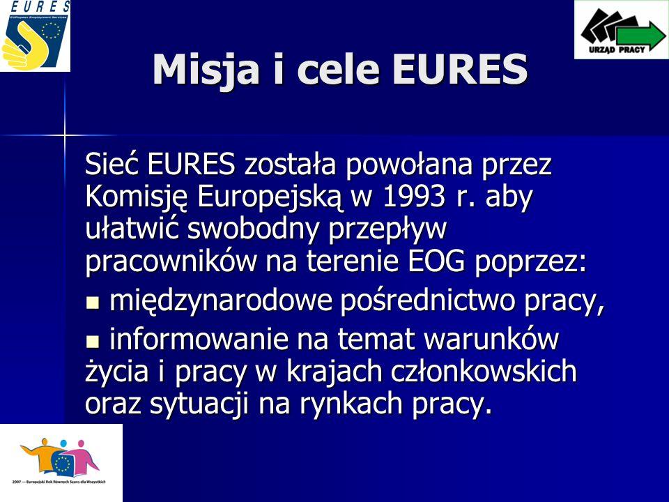 Misja i cele EURES Sieć EURES została powołana przez Komisję Europejską w 1993 r. aby ułatwić swobodny przepływ pracowników na terenie EOG poprzez: