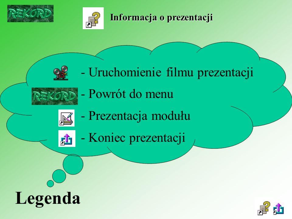Legenda - Uruchomienie filmu prezentacji - Powrót do menu