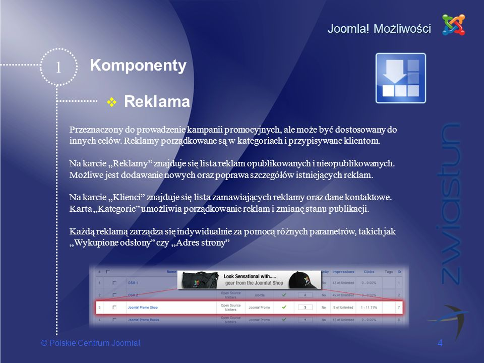 1 Komponenty Reklama Joomla! Możliwości