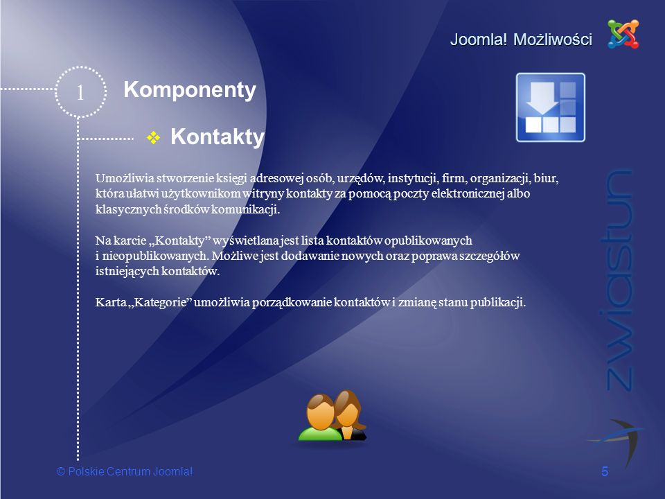 1 Komponenty Kontakty Joomla! Możliwości
