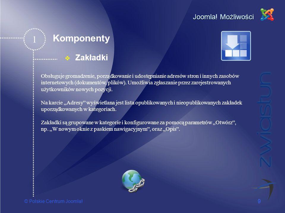1 Komponenty Zakładki Joomla! Możliwości