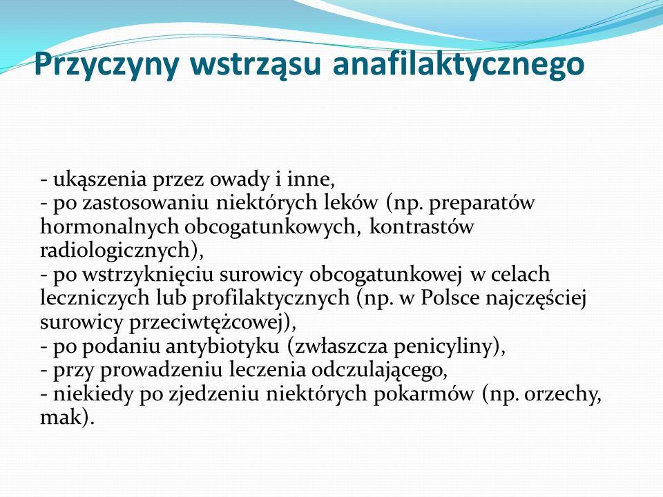 Przyczyny wstrząsu anafilaktycznego