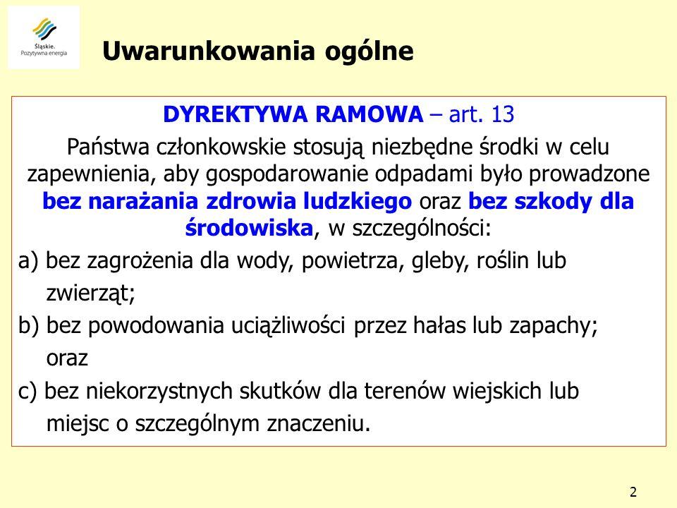 Uwarunkowania ogólne DYREKTYWA RAMOWA – art. 13