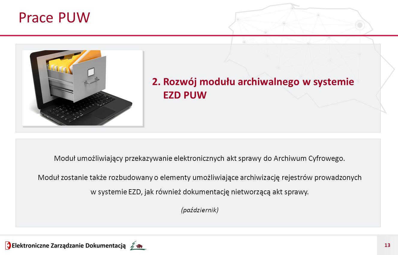 Prace PUW 2. Rozwój modułu archiwalnego w systemie EZD PUW