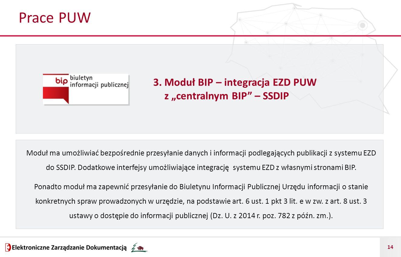 """Prace PUW 3. Moduł BIP – integracja EZD PUW z """"centralnym BIP – SSDIP"""