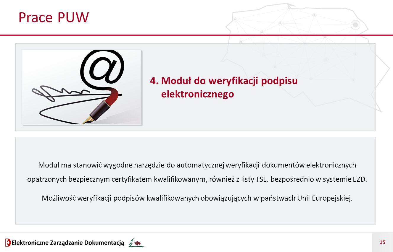 Prace PUW 4. Moduł do weryfikacji podpisu elektronicznego