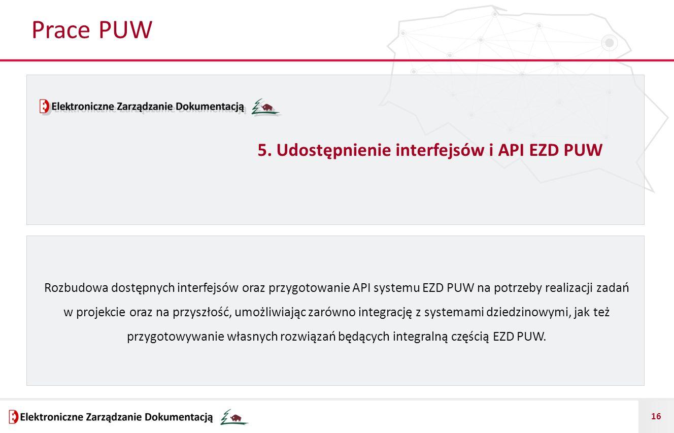 Prace PUW 5. Udostępnienie interfejsów i API EZD PUW