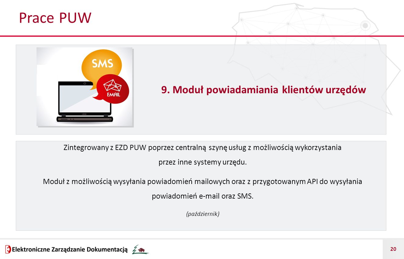 Prace PUW 9. Moduł powiadamiania klientów urzędów