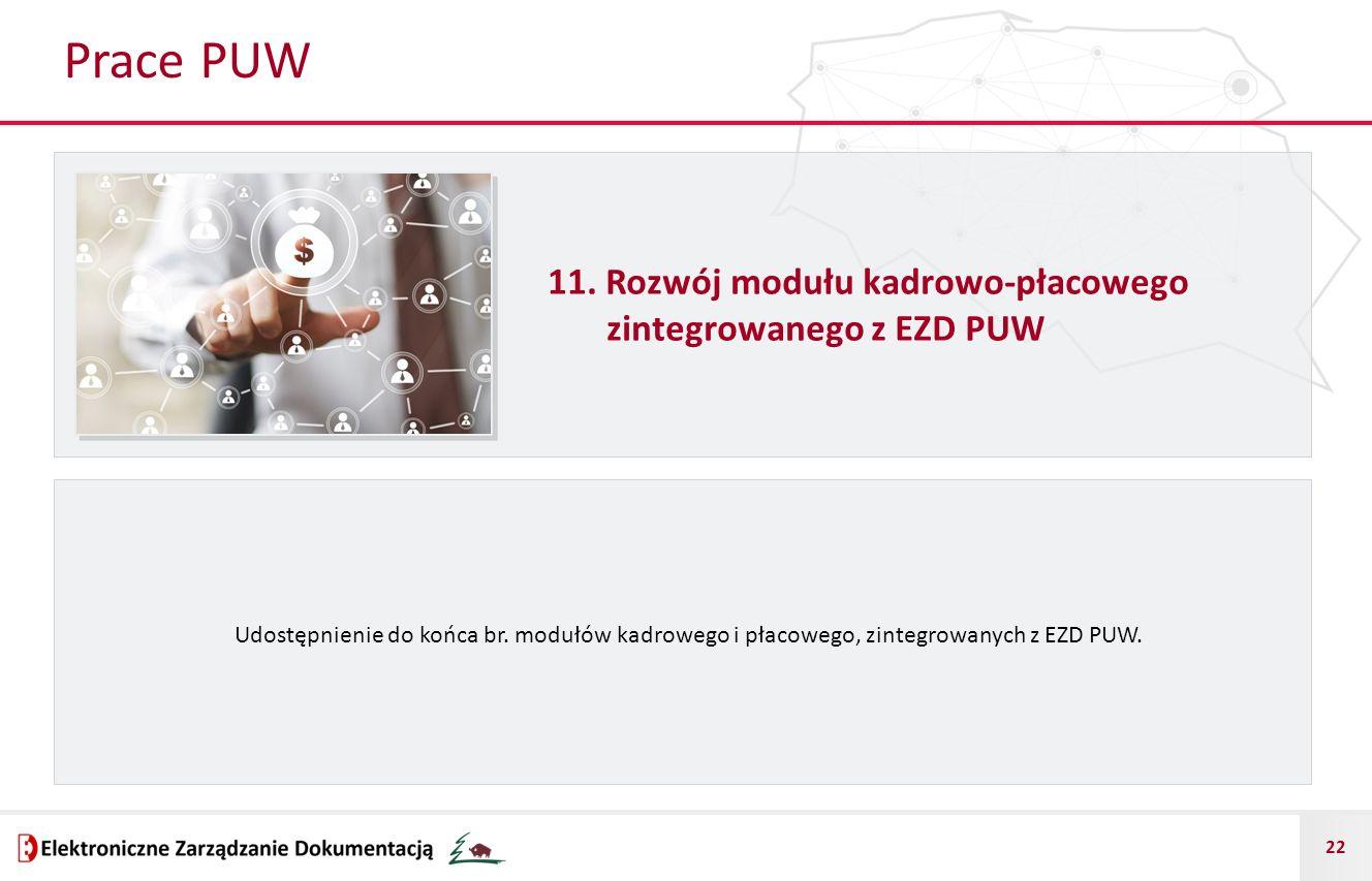 Prace PUW 11. Rozwój modułu kadrowo-płacowego zintegrowanego z EZD PUW