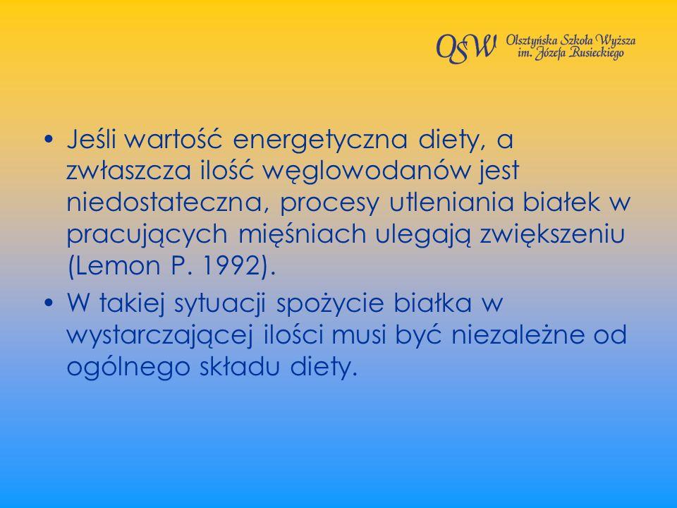Jeśli wartość energetyczna diety, a zwłaszcza ilość węglowodanów jest niedostateczna, procesy utleniania białek w pracujących mięśniach ulegają zwiększeniu (Lemon P. 1992).