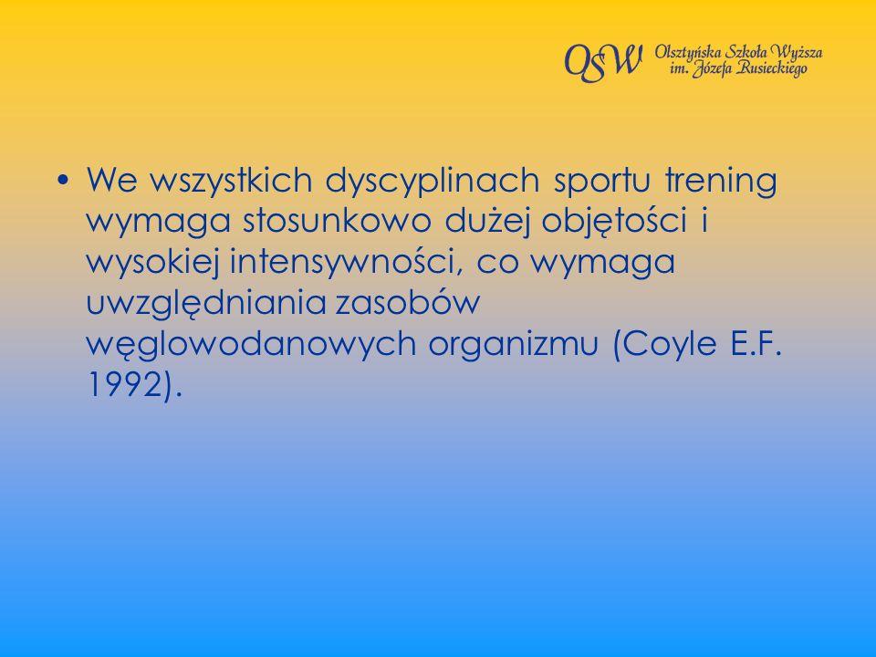 We wszystkich dyscyplinach sportu trening wymaga stosunkowo dużej objętości i wysokiej intensywności, co wymaga uwzględniania zasobów węglowodanowych organizmu (Coyle E.F.