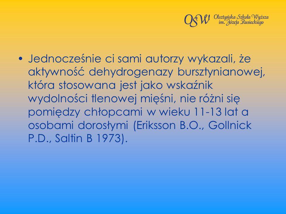 Jednocześnie ci sami autorzy wykazali, że aktywność dehydrogenazy bursztynianowej, która stosowana jest jako wskaźnik wydolności tlenowej mięśni, nie różni się pomiędzy chłopcami w wieku 11-13 lat a osobami dorosłymi (Eriksson B.O., Gollnick P.D., Saltin B 1973).