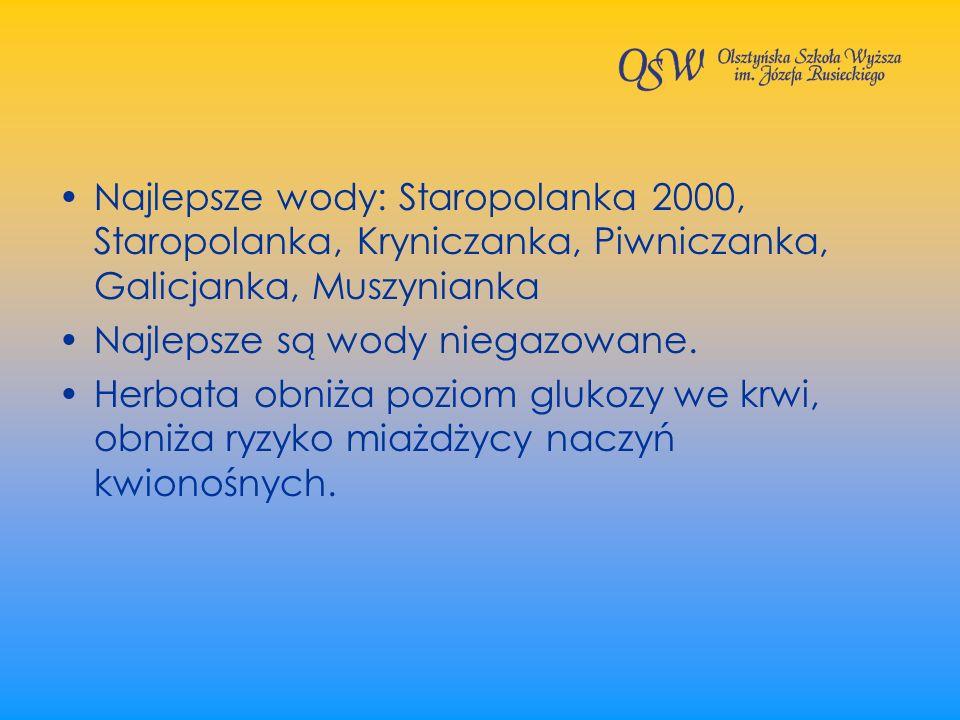 Najlepsze wody: Staropolanka 2000, Staropolanka, Kryniczanka, Piwniczanka, Galicjanka, Muszynianka