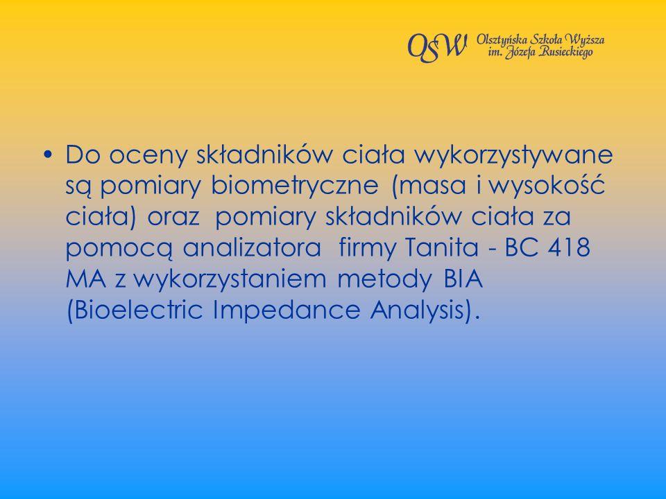 Do oceny składników ciała wykorzystywane są pomiary biometryczne (masa i wysokość ciała) oraz pomiary składników ciała za pomocą analizatora firmy Tanita - BC 418 MA z wykorzystaniem metody BIA (Bioelectric Impedance Analysis).