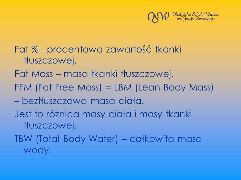 Fat % - procentowa zawartość tkanki tłuszczowej.