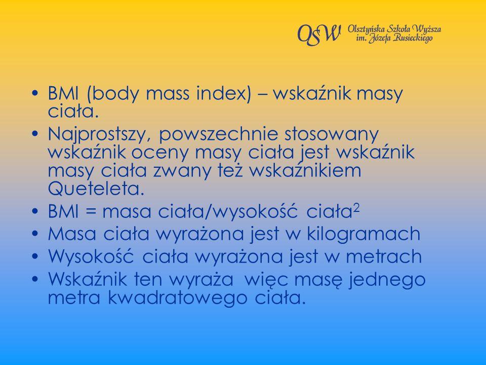 BMI (body mass index) – wskaźnik masy ciała.