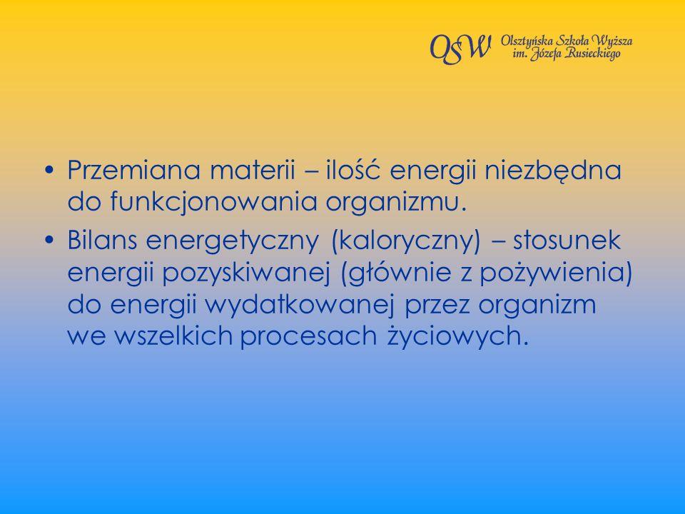 Przemiana materii – ilość energii niezbędna do funkcjonowania organizmu.