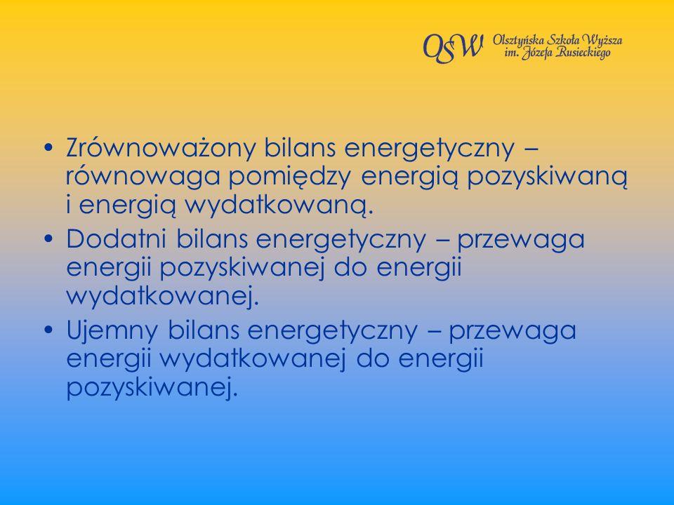 Zrównoważony bilans energetyczny – równowaga pomiędzy energią pozyskiwaną i energią wydatkowaną.