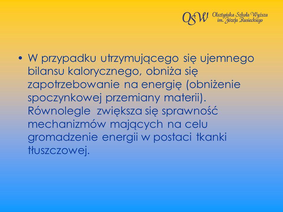 W przypadku utrzymującego się ujemnego bilansu kalorycznego, obniża się zapotrzebowanie na energię (obniżenie spoczynkowej przemiany materii).
