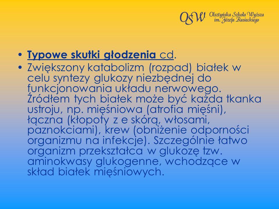 Typowe skutki głodzenia cd.