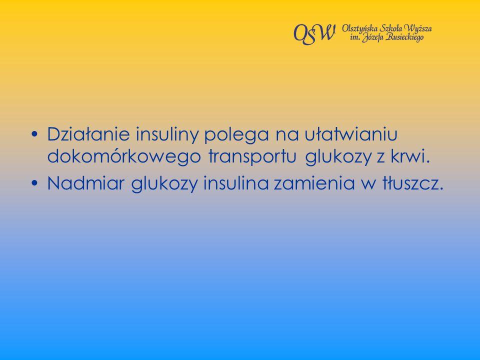 Działanie insuliny polega na ułatwianiu dokomórkowego transportu glukozy z krwi.