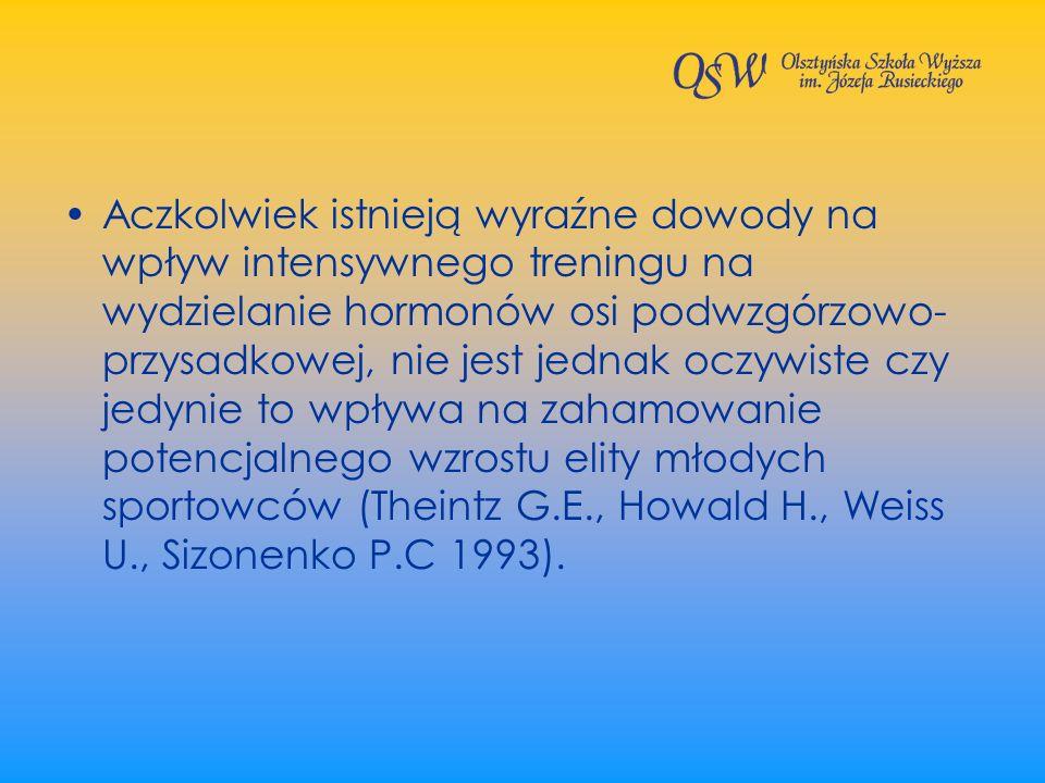 Aczkolwiek istnieją wyraźne dowody na wpływ intensywnego treningu na wydzielanie hormonów osi podwzgórzowo-przysadkowej, nie jest jednak oczywiste czy jedynie to wpływa na zahamowanie potencjalnego wzrostu elity młodych sportowców (Theintz G.E., Howald H., Weiss U., Sizonenko P.C 1993).