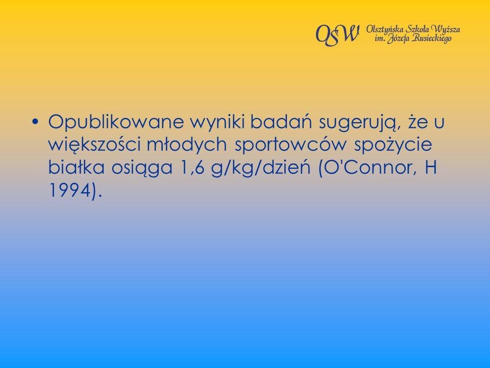 Opublikowane wyniki badań sugerują, że u większości młodych sportowców spożycie białka osiąga 1,6 g/kg/dzień (O Connor, H 1994).