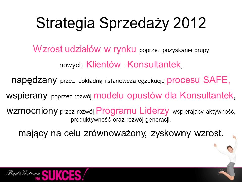 Strategia Sprzedaży 2012Wzrost udziałów w rynku poprzez pozyskanie grupy. nowych Klientów i Konsultantek,