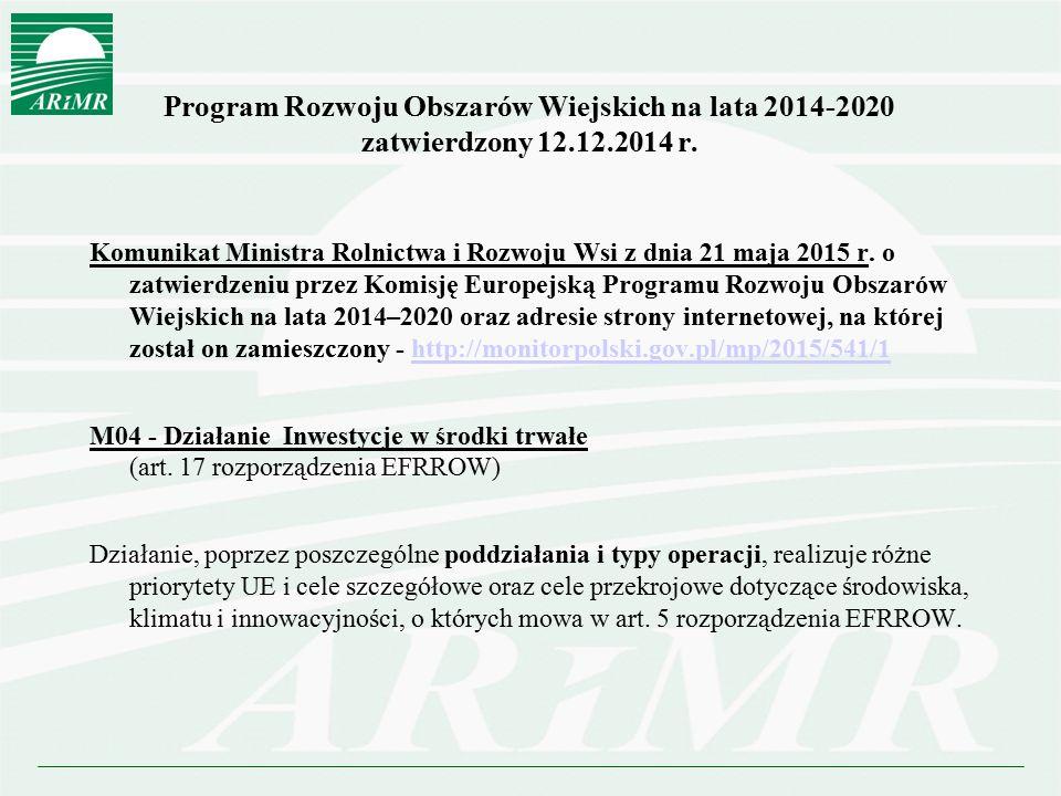 Program Rozwoju Obszarów Wiejskich na lata 2014-2020 zatwierdzony 12