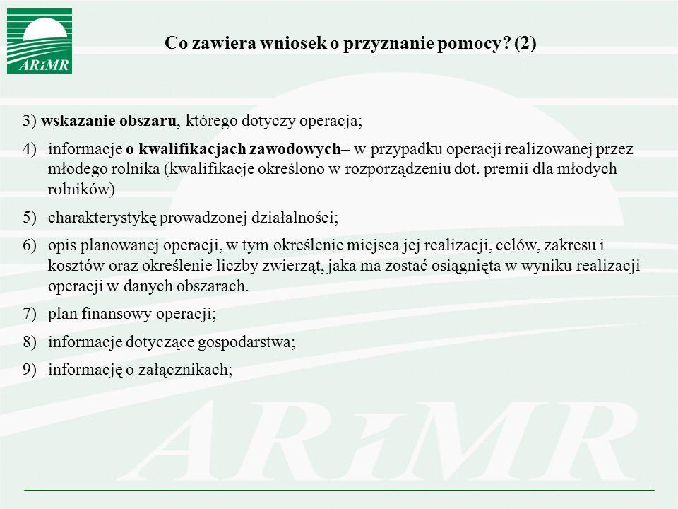 Co zawiera wniosek o przyznanie pomocy (2)