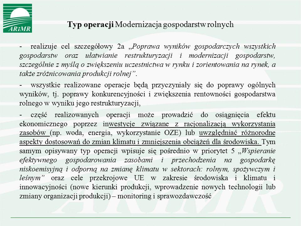 Typ operacji Modernizacja gospodarstw rolnych