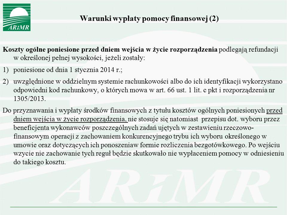 Warunki wypłaty pomocy finansowej (2)