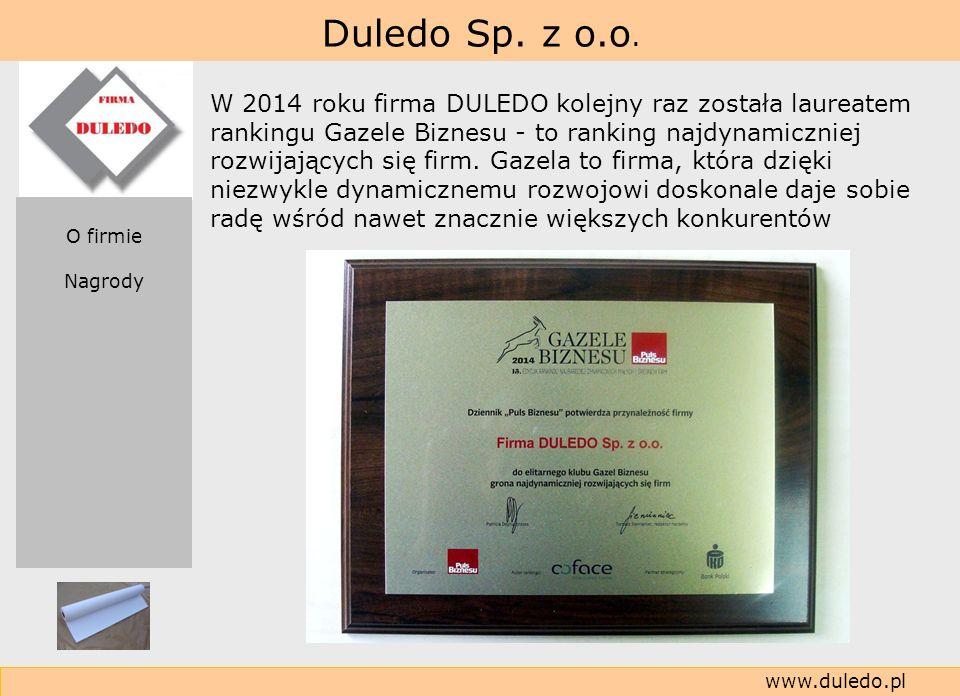 W 2014 roku firma DULEDO kolejny raz została laureatem rankingu Gazele Biznesu - to ranking najdynamiczniej rozwijających się firm. Gazela to firma, która dzięki niezwykle dynamicznemu rozwojowi doskonale daje sobie radę wśród nawet znacznie większych konkurentów