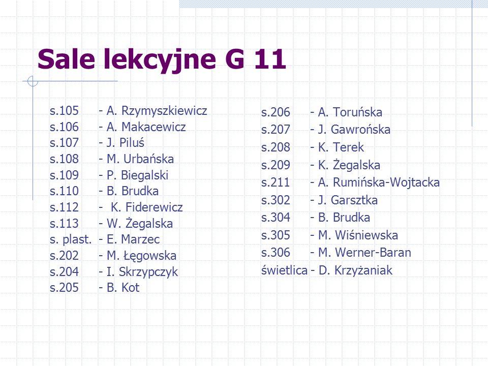Sale lekcyjne G 11 s.105 - A. Rzymyszkiewicz s.106 - A. Makacewicz
