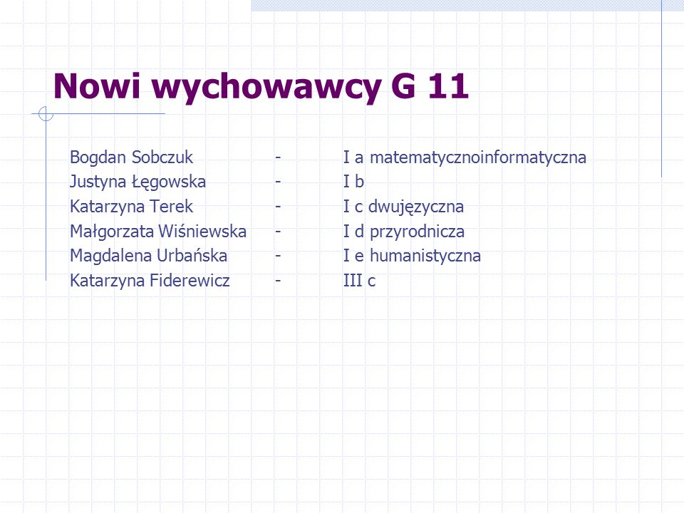 Nowi wychowawcy G 11 Bogdan Sobczuk - I a matematycznoinformatyczna