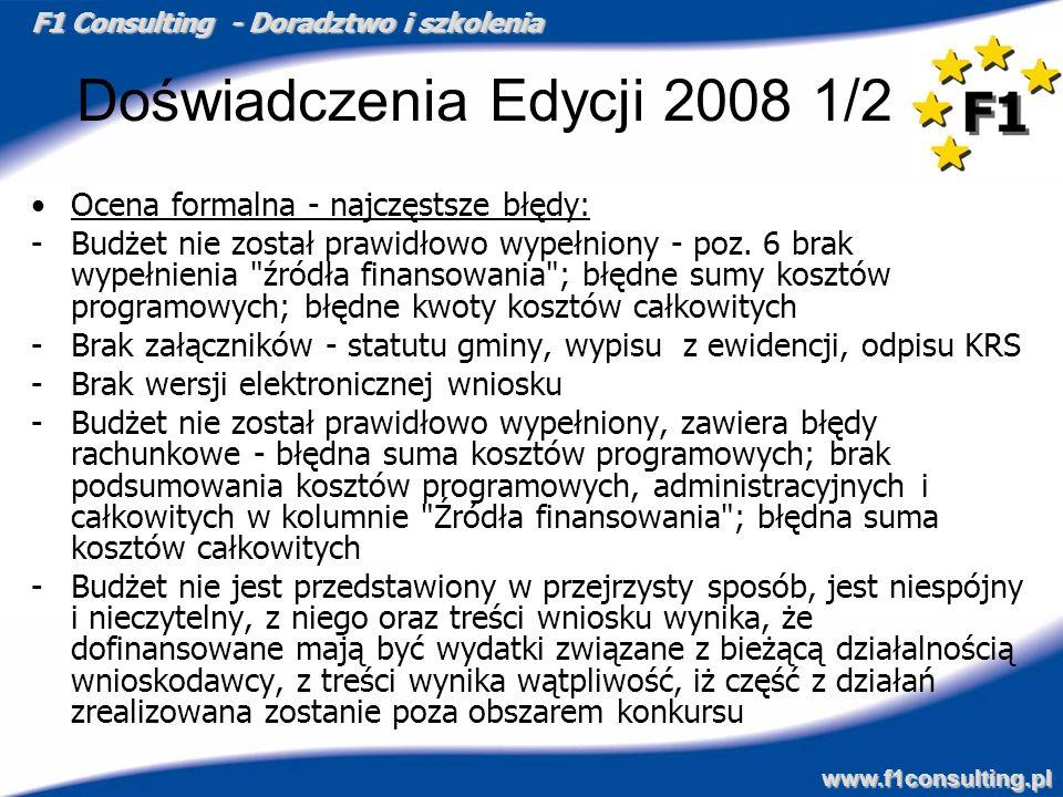 Doświadczenia Edycji 2008 1/2