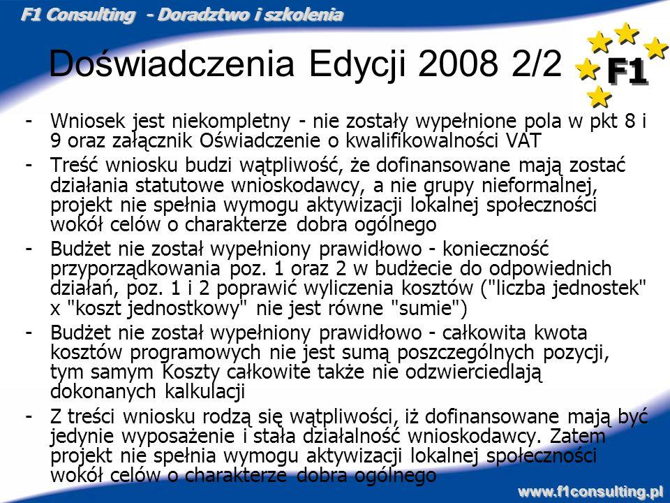 Doświadczenia Edycji 2008 2/2