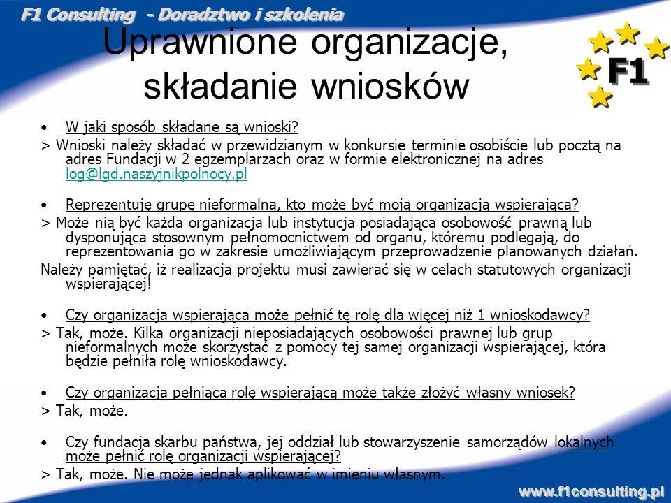 Uprawnione organizacje, składanie wniosków