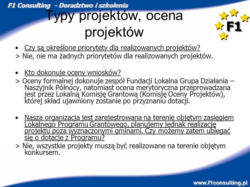 Typy projektów, ocena projektów