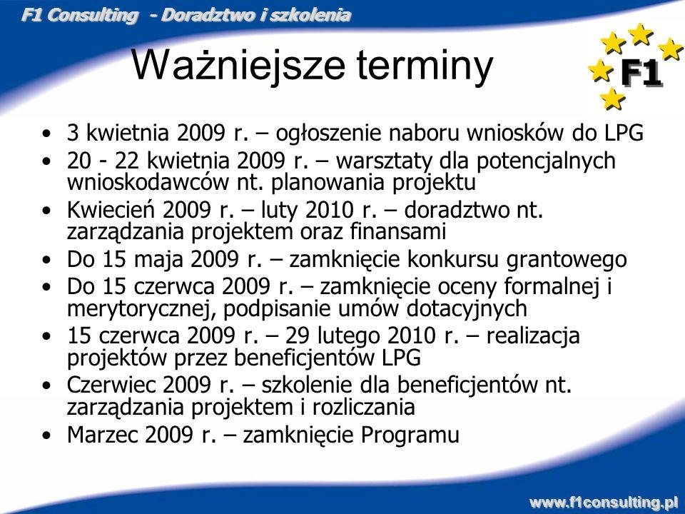 Ważniejsze terminy 3 kwietnia 2009 r. – ogłoszenie naboru wniosków do LPG.