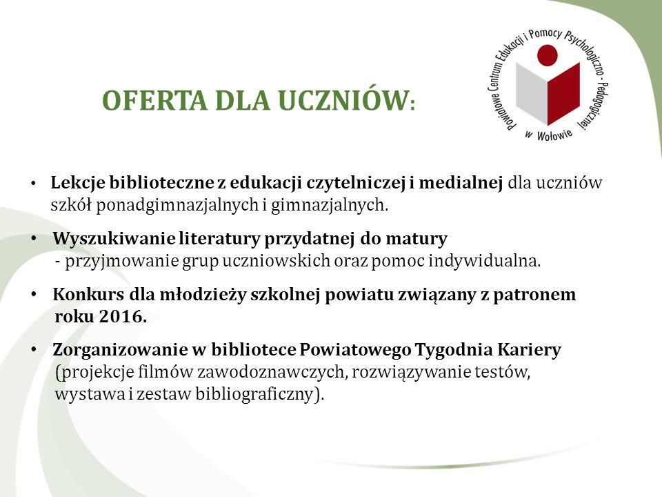 OFERTA DLA UCZNIÓW: Lekcje biblioteczne z edukacji czytelniczej i medialnej dla uczniów szkół ponadgimnazjalnych i gimnazjalnych.