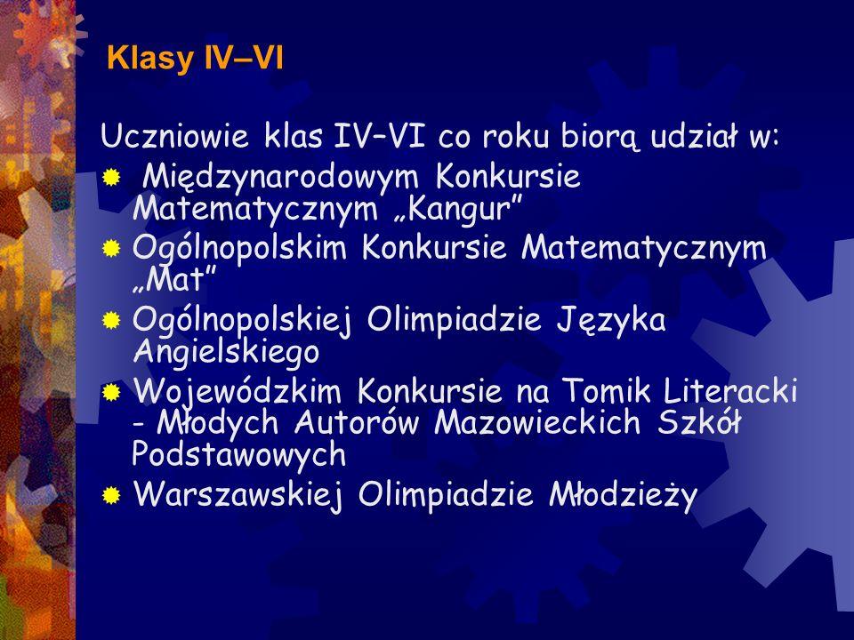 """Klasy IV–VI Uczniowie klas IV–VI co roku biorą udział w: Międzynarodowym Konkursie Matematycznym """"Kangur"""